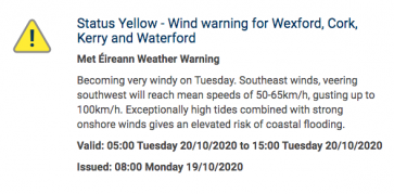 Status Yellow Wind Warning - Met Eireann